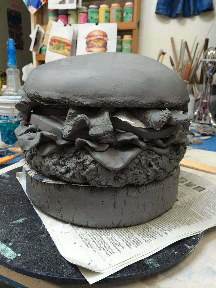 Fast food creations made from clay and ceramics by Betty Spindler.