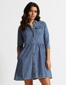 Buy online Denim Dress at www.bunglesclothing.com