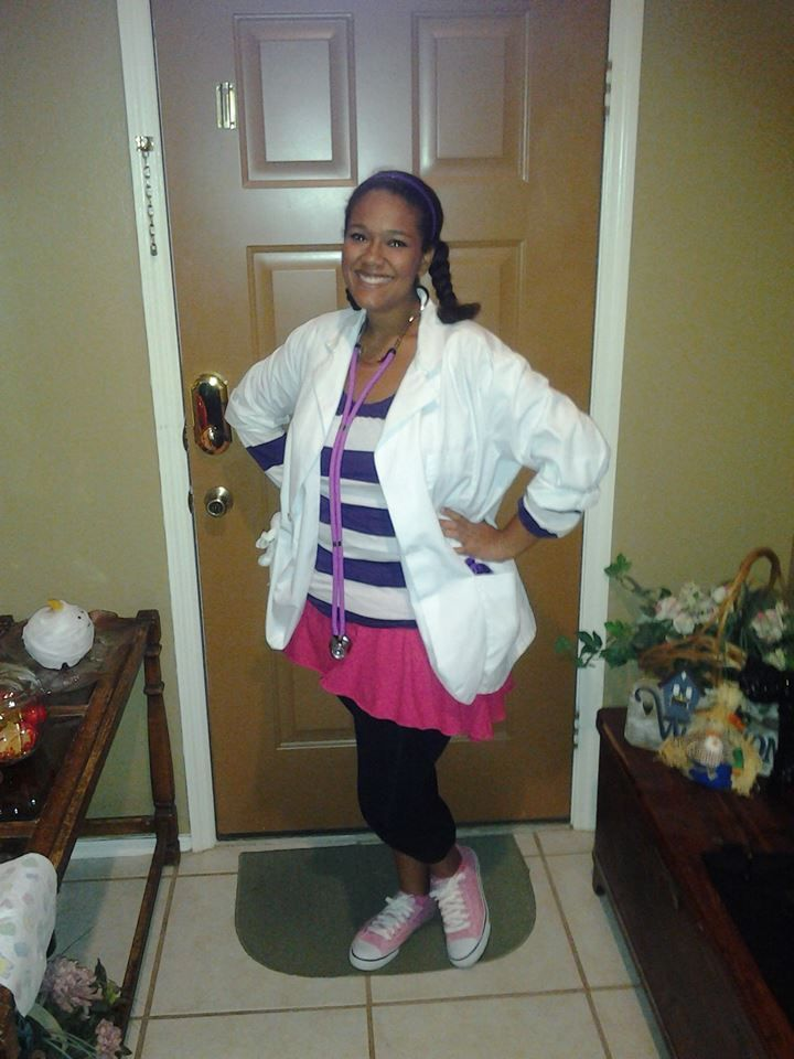 Halloween Costume Adult Doc McStuffins Costume DIY under $5. Already on Hand: Lab Coat, Shirt, Black Leggings, and Shoes  Purchased: Pink Skirt Kmart $5