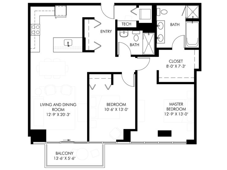 1000 Square Foot Floor Plans Unit 1216 1200 Square Feet