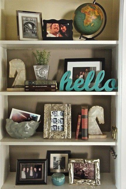Pretty book shelf arrangement