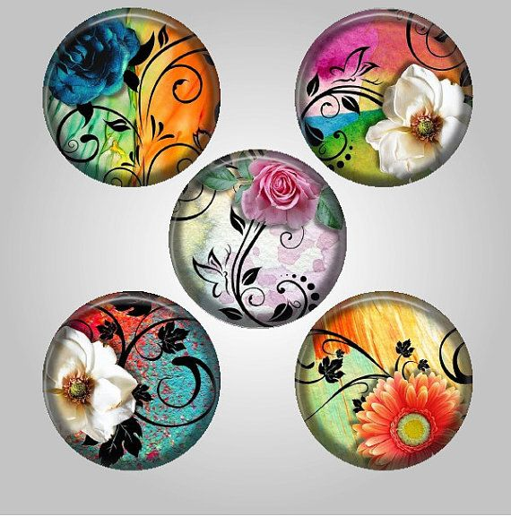 Floral collage sheet 38mm, 30mm, 25mm, 20mm & 18mm round circle Colorful Flowers circles 12 designs 1 inch bottlecap images instant download