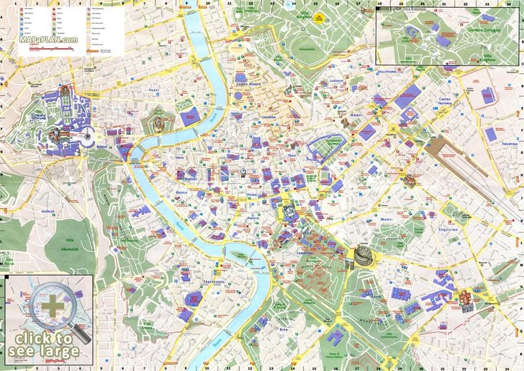 Must see points of interest detailed street guide Rome top tourist attractions map