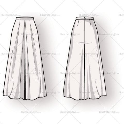 Women's Long Pleated Skirt Fashion Flat Template