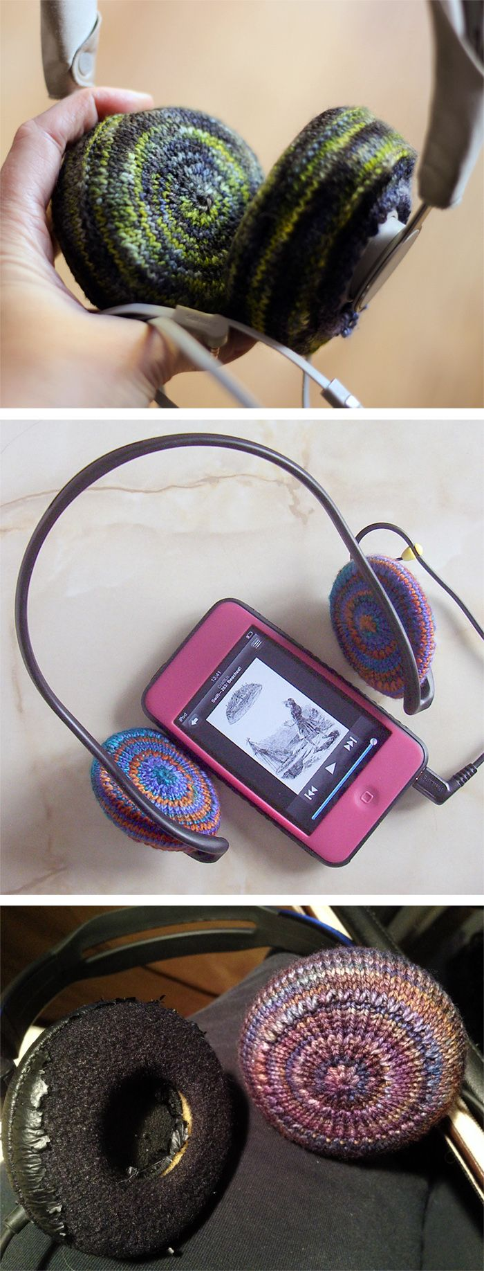 Free Knitting Pattern for EZ as pi Headphone Covers - Transform your hard or worn out headphones with scraps of your favorite sock yarn knit into soft colorful cozies. Designed by Jocelyn Blair. Pictured projects by elizanca who made modifications, aKnitOnTheSide, and AllieSan