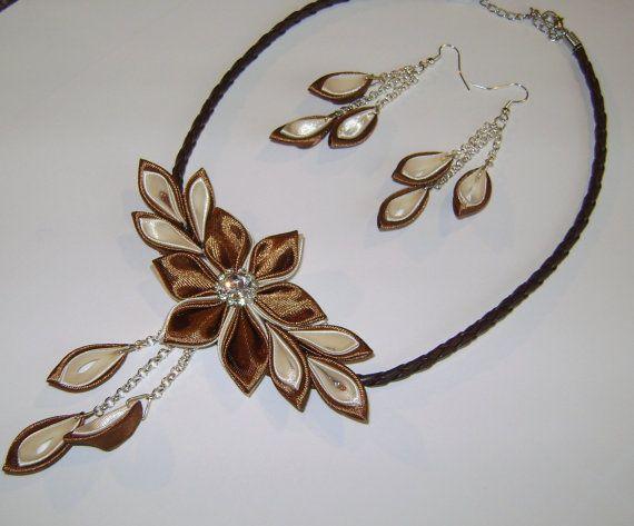 Handmade kanzashi satin fabric brown-ivory set of necklace earringsfor wedding ecs.
