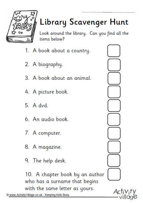 Library scavenger hunt                                                       …