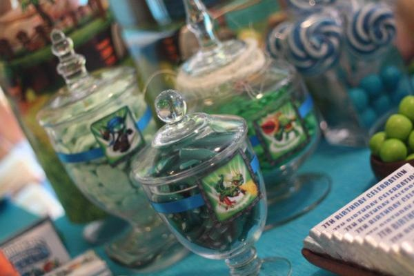 Lolly jars: love the skylander pictures in the front