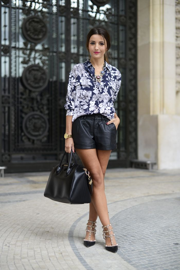 Beautiful colors of flowers on top with a simple black sexy yet appropriate skirt ! Love the heels but what heels would u wear?