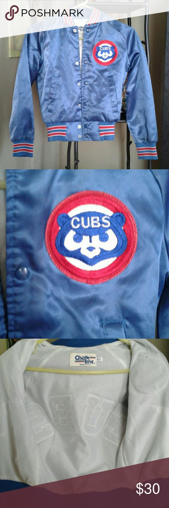 Vintage cubs jacket Says size Vintage cubs jacket 10/12 but runs small. In excellent condition with limited wear on buttons. No rips, holes, tears, or stains. Chicago Cubs Jackets & Coats
