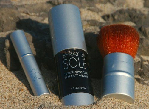 Spray di Sole - Liquid Bronzer Kit by Spray di Sole. Gives an even all over glow to the face and body. Free from DHA. Leaves your skin feeling soft,smooth and radiant. No smell, Not Sticky and dries quick. Includes a Specially Designed Kabuki Brush and Refillable Atomizer for that on the go glow. The bronzer is non- transferable so you can tan and go. Spray Di Sole Liquid Bronzer Kit.