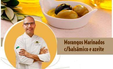 Morangos Marinados c/balsâmico e azeite