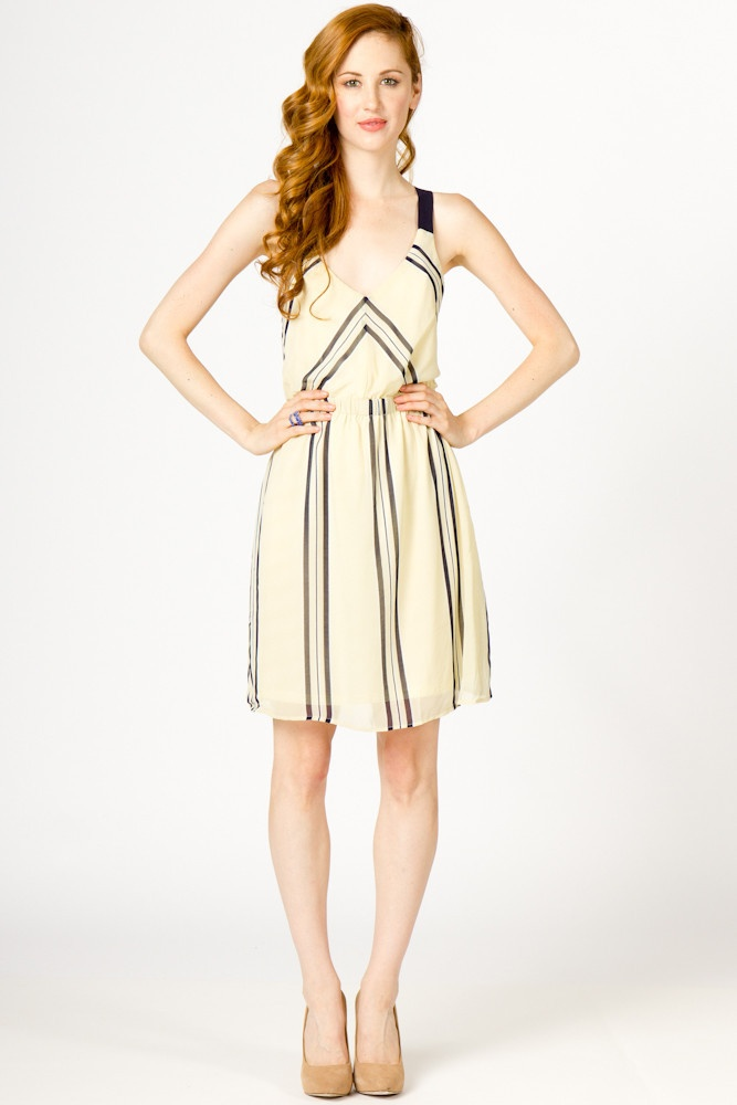 cross back chiffon dress.