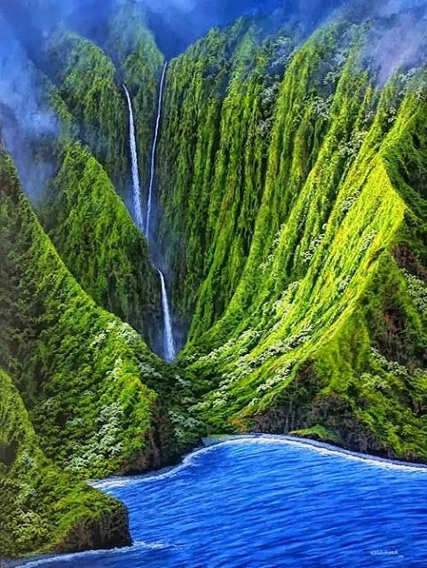 Kahiwa Falls is a tiered waterfall in Hawaii located on the northern shore of the island of Molokai, between Wailau and Papalaua valleys.
