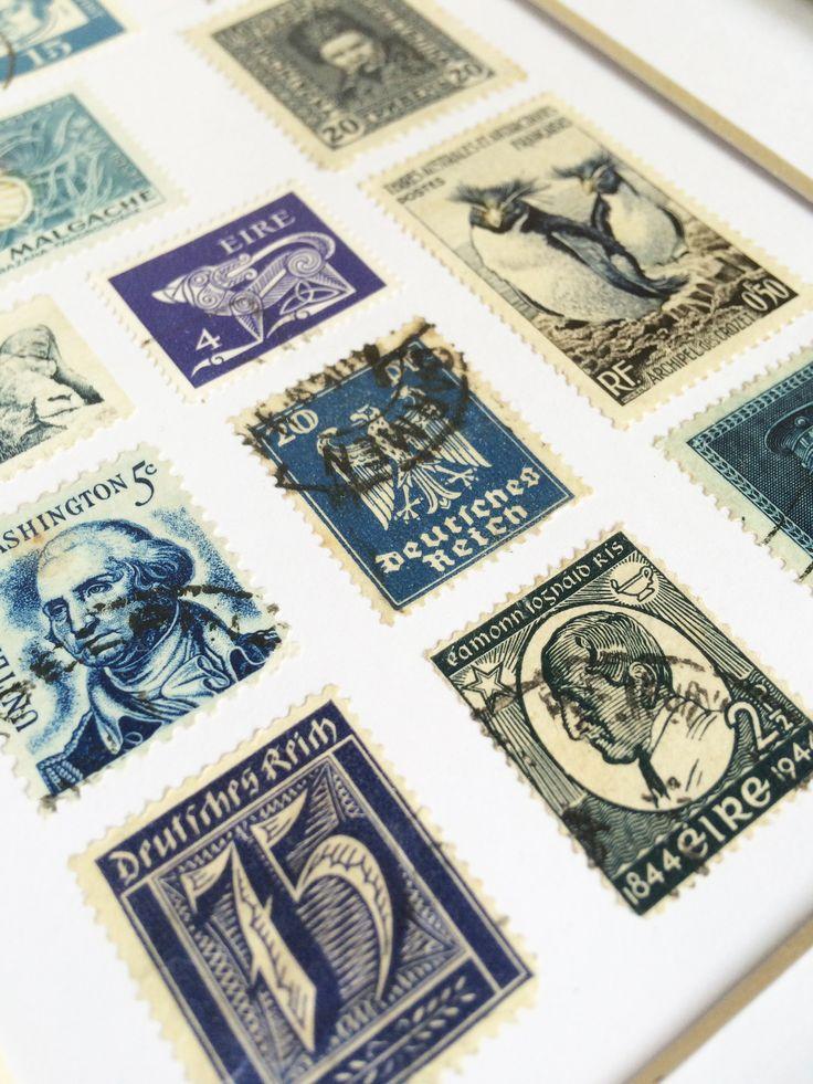 Vintage Framed Stamp Wall Art - Indigo