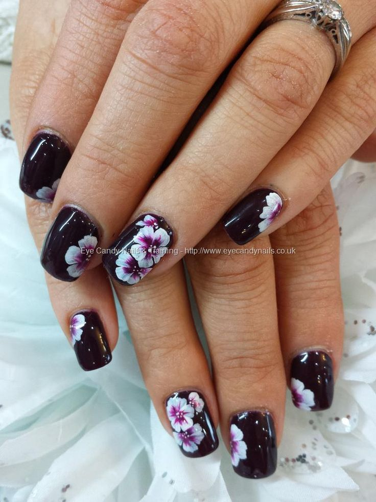 November Nail Art Challenge 2013: Lincoln Park After Dark Polish With One Stroke Flower Nail