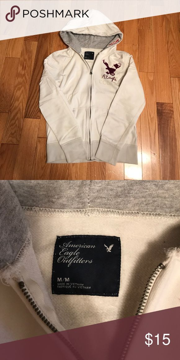 Women's Cream American Eagle Zip Up Hoodie Women's Cream American Eagle Zip Up Hoodie Size Medium American Eagle Outfitters Tops Sweatshirts & Hoodies