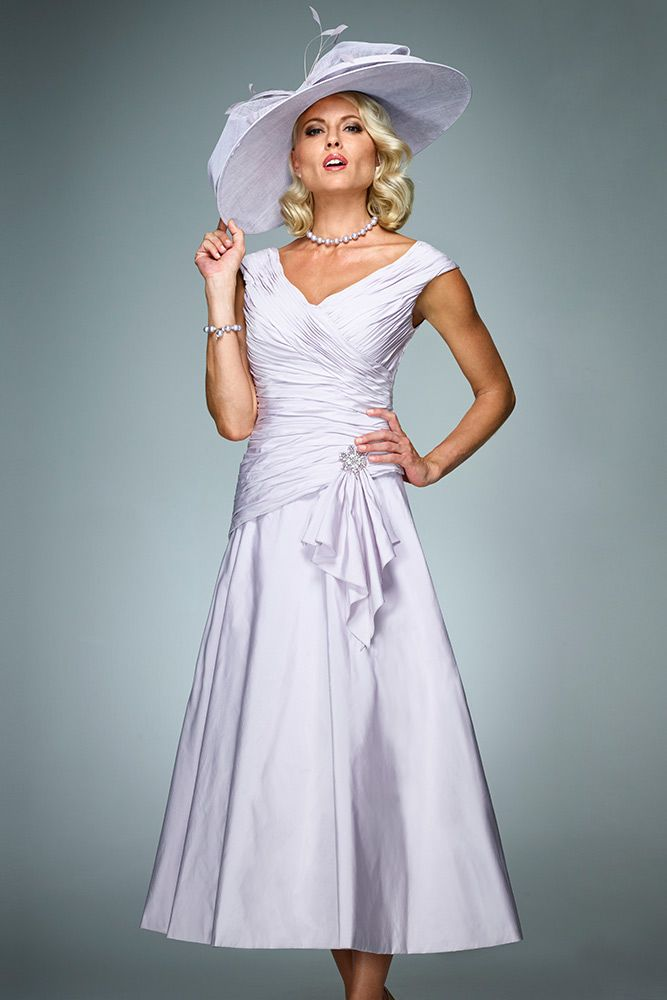 Ian Stuart ISL706 3/4 Length Tea Dress in Parma Violet, Cherry Blossom & French Vanilla