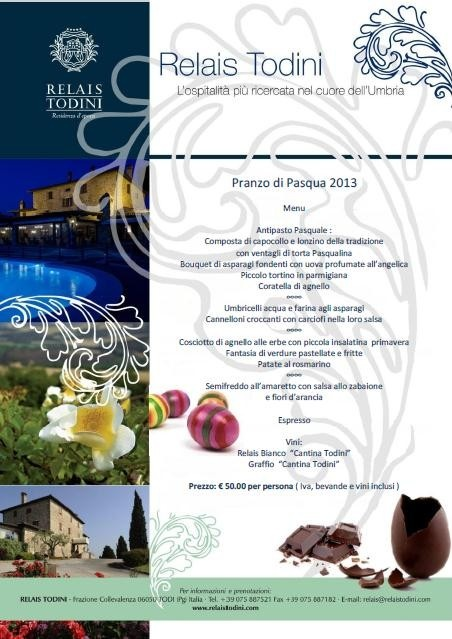 Enjoy our Easter Lunch at Relais Todini! Pranzo di Pasqua al Relais Todini, Umbrian getaway in the countryside.