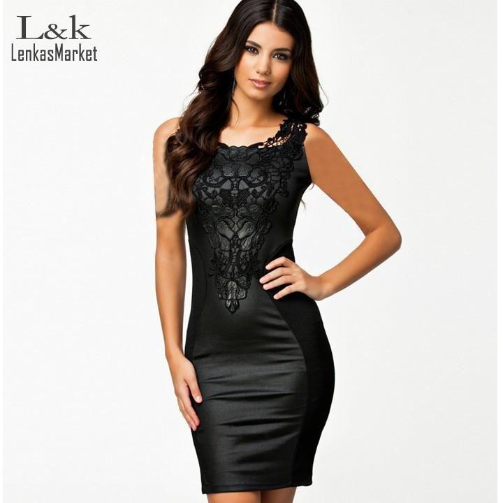 Sleeveless O-neck Lace Leather Patchwork Bodycon Dress 02b295f2832c