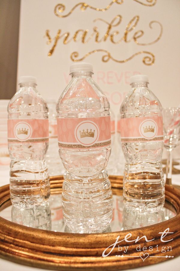 Pink And Gold Tiara Water Bottle Labels Sparkle Baby - Gitter Baby