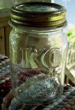 RARE KC PINT MASON FRUIT CANNING JAR / SQUARE CLEAR COLOR