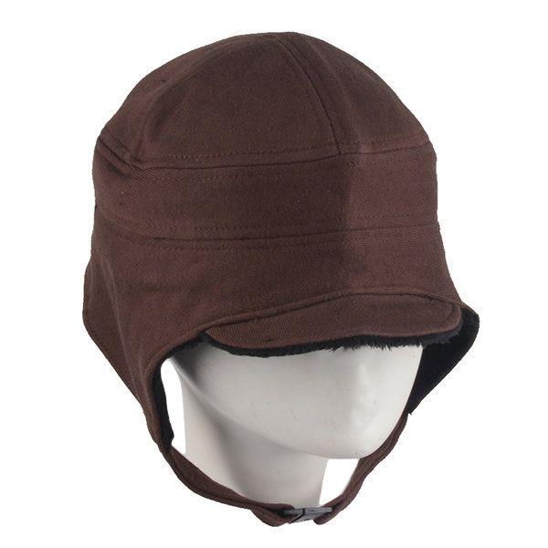 Unisex Men Women Earflap Earmuff Cotton Blend Faux Fur Plush Linen Beret Cap Buckle Cycling Hat at Banggood