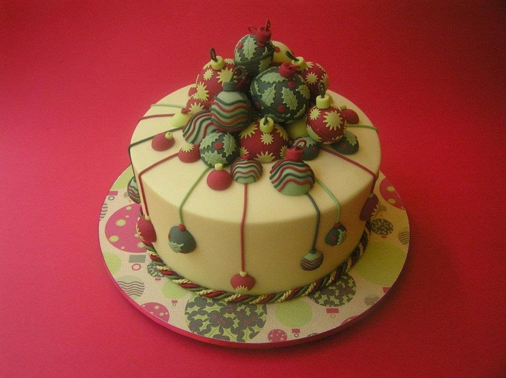 Christmas Bauble Cake By Designer Cake Classes Part 63