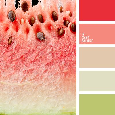 Fresh, cheerful palette using rich natural colors: red, hot pink, light pink, light olive and white.