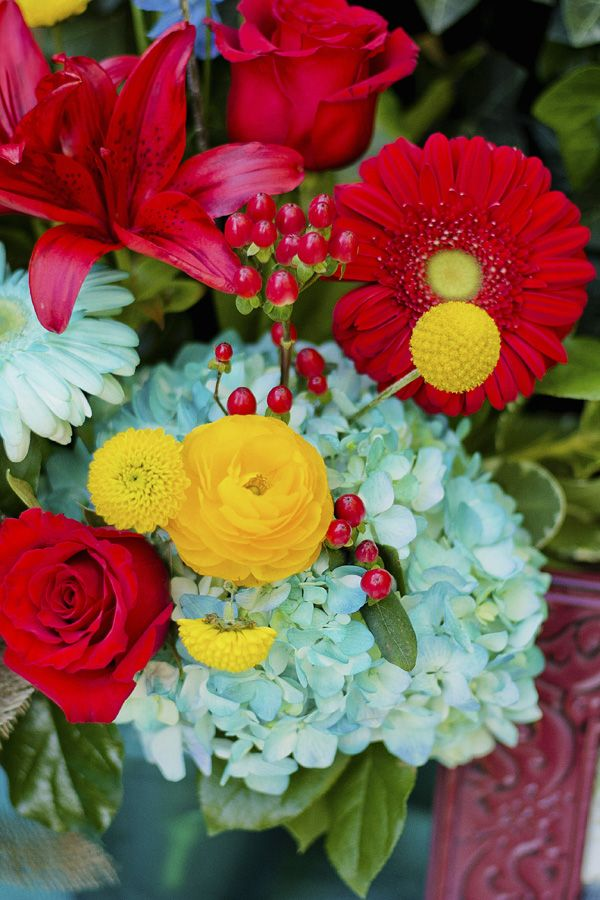 Turquoise, Red, Yellow And Burlap Wedding Inspiration | YesBride Blog - flowers