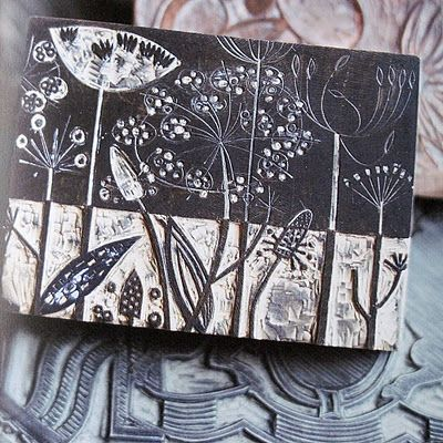 pair sgraffito and relief carving to create image like the beautiful botanical stamp-angie lewin