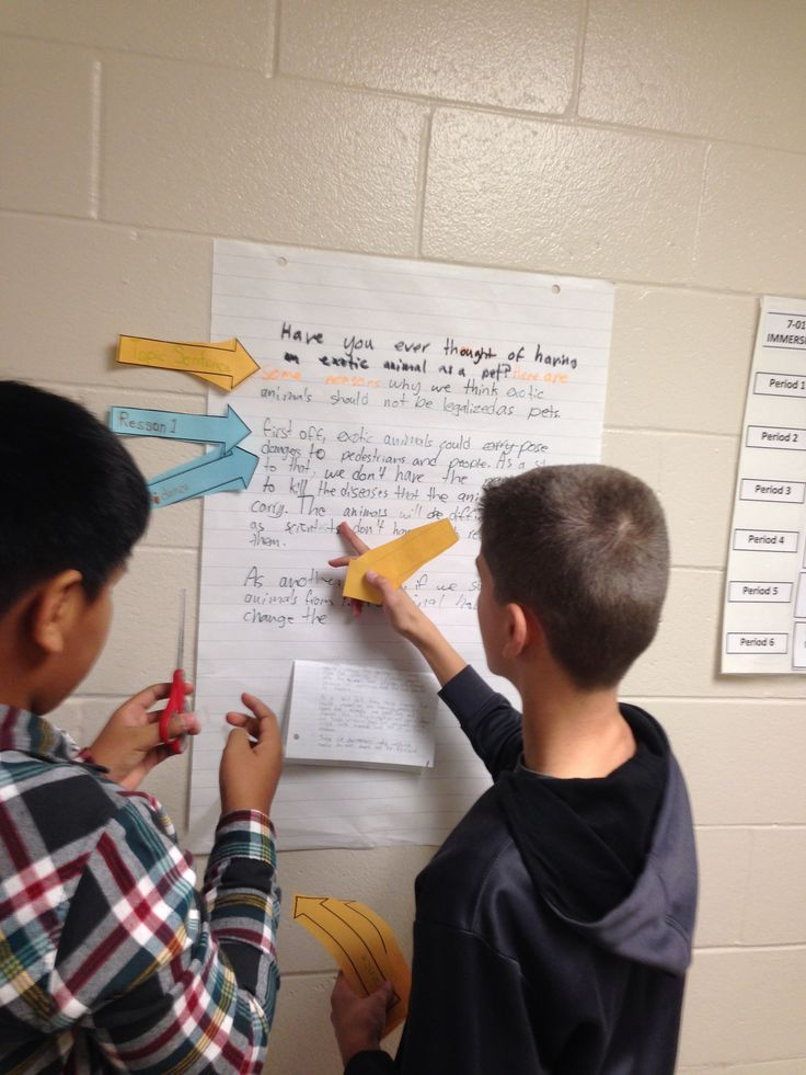 Students in Mr. Burns' language class: Peer assessment of paragraphs.  Students were examining the structure and amount of evidence provided in the paragraphs