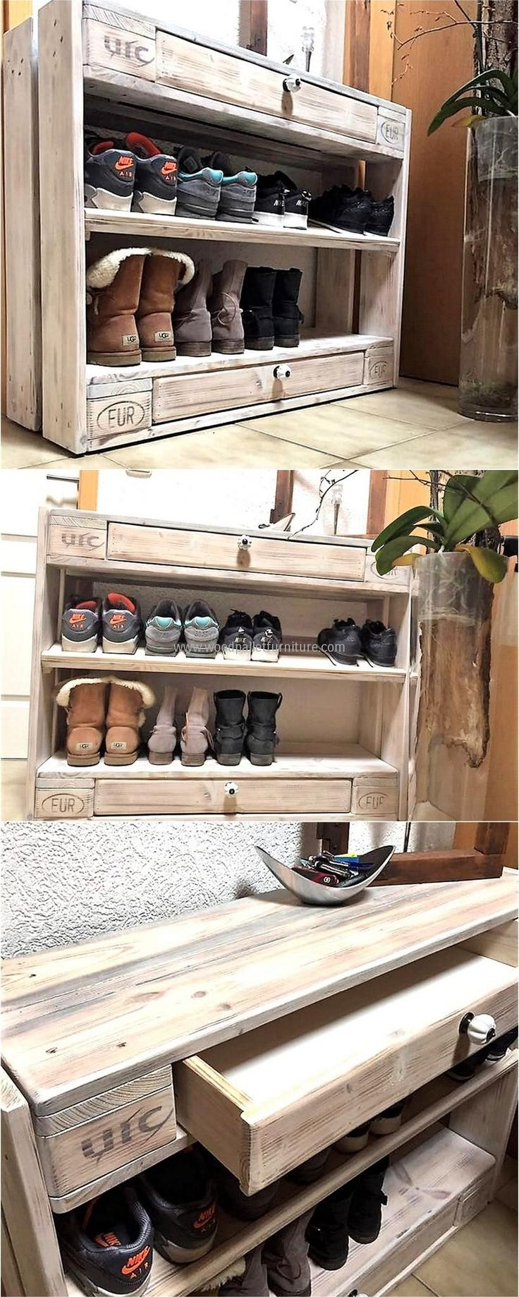 Wood pallet shoe rack with storage drawers. Love ❤️ this idea.