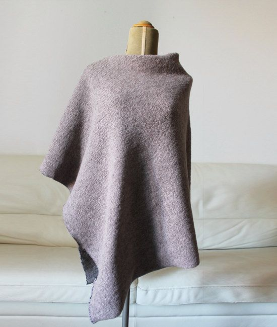 sweater poncho, Rosy brown 100% wool poncho, christmas gift idea