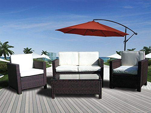 Wicker House 5 Piece Outdoor Rattan Furniture Set With Hanging Umbrella