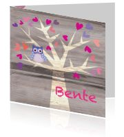 Gaaf geboortekaartje voor een Meisje met Uil in boom - Skip & Coco:http://kaartjesparadijs.nl/winkel/gaaf-geboortekaartje-voor-een-meisje-met-uil-in-boom-skip-coco/