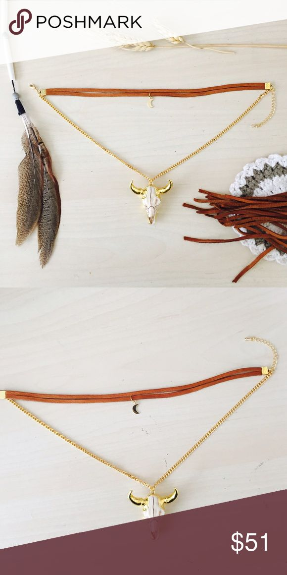 24K Gold Moon Cow Skull Choker Necklace I made this Beautiful choker necklace, made out of a Acorn Colored Soft Deer skin leather, with a tiny gold crescent moon charm that hangs in the center, and below hanging on a thick 24K Gold Plated chain hangs a Bo
