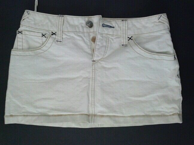 FREE PEOPLE MINI MICRO SKIRT EARTHY SAND OFF WHITE COLOR JEANS SZ 0 PENCIL SEXY  #FreePeople #Mini