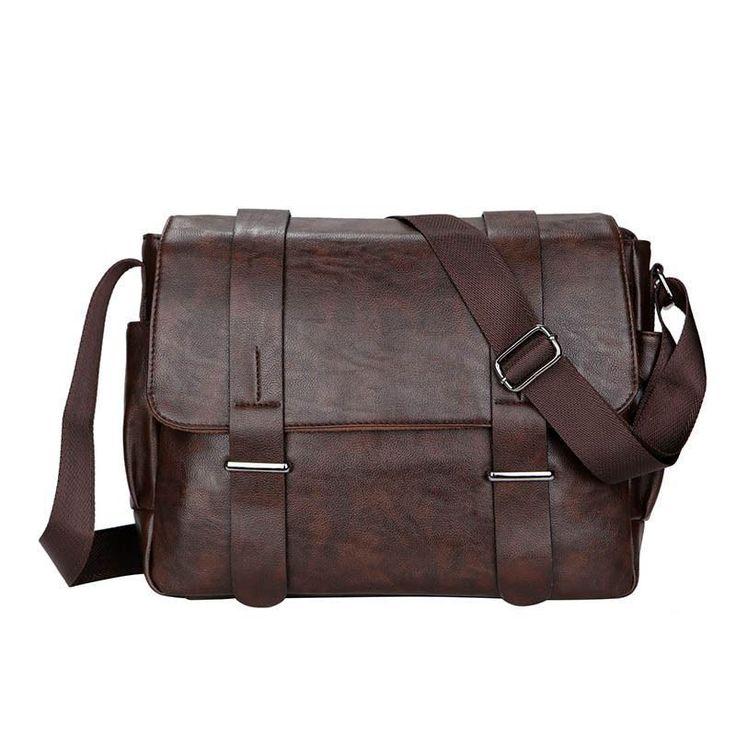 New Men Vintage Shoulder Bag Cross-body Messenger Bag Black Brown faux leather