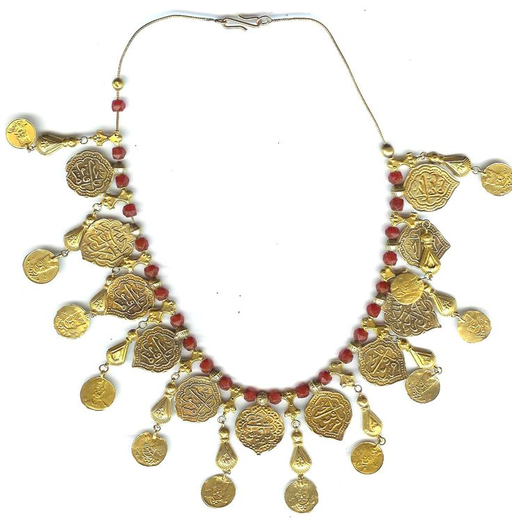 22K gold necklace with coins and coral Ottoman (archives sold Singkiang)