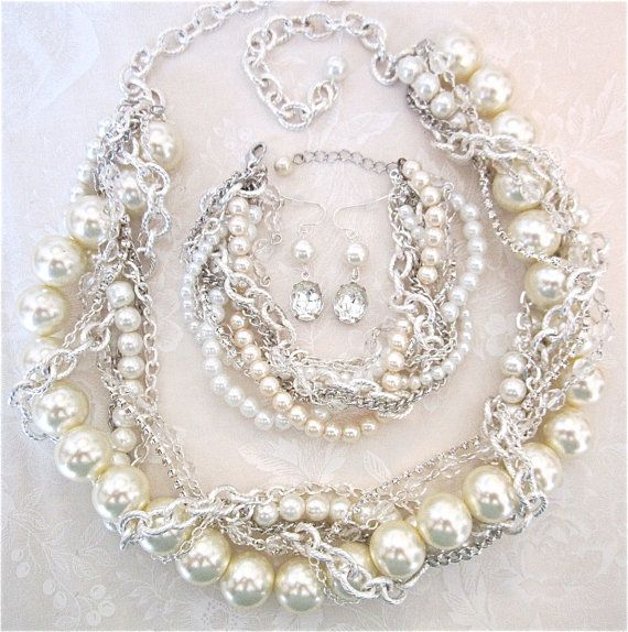 Chunky Pearl Wedding Set With Statement Necklace, Bracelet, Earrings Chunky Pearl & Silver Bridal Statement Wedding Jewelry Pearly Q