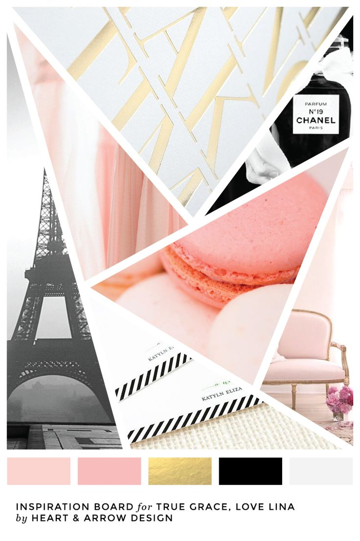 Pink, gold, and black color inspiration board / French inspired color palette