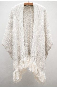 Lauren Manoogian White & Grey Ruana Coat