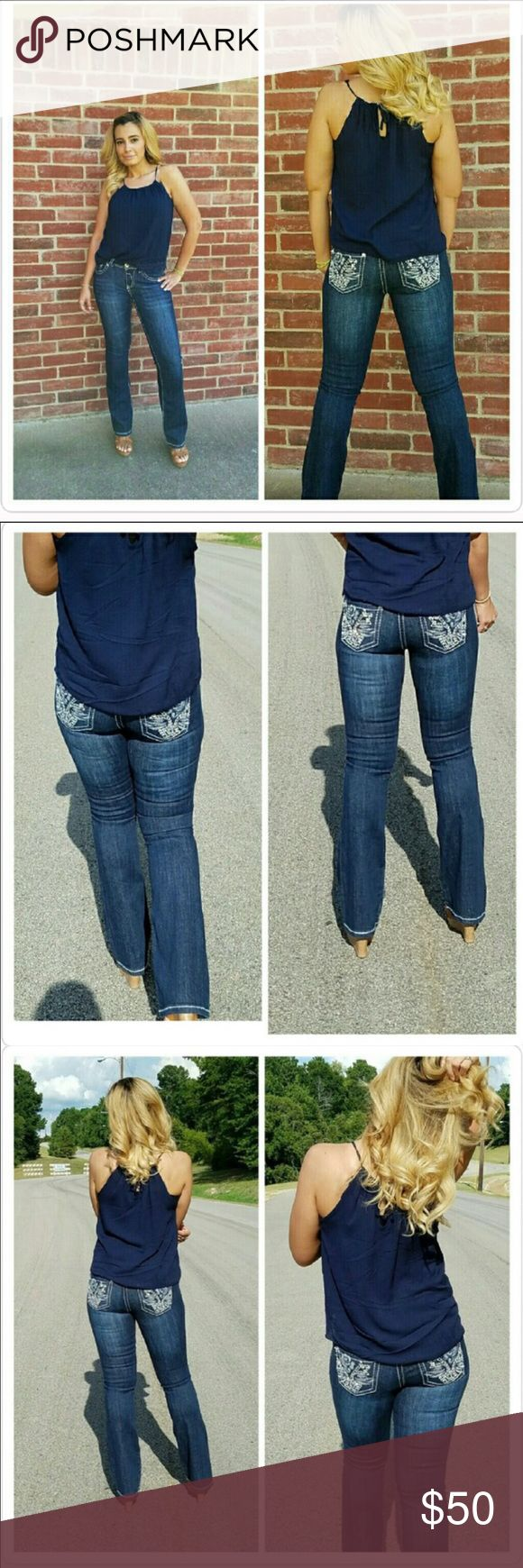 Sassy Rose Embellished Jeans Mid rise, boot cut denim jeans with embroidery and stud, rhinestones detail on back pockets, rhinestone rivets, and contrast top stitch detail. Sizes are 1, 3, 5, 7, 9, 13. Fabric 96% cotton 4% Spandex. TTS-Price Firm-No Trades. Jeans Boot Cut