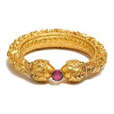 An Antique Gold Repousse Bangle or kada.