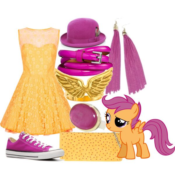 """scootaloo"" inspired outfit captures the spunky Cutie Mark Crusader with fashions from the awesome 80s. Mini dress, bangles, low top chucks, derby hat a la Blossom, eye popping jewelry. Fun and fashionable!"
