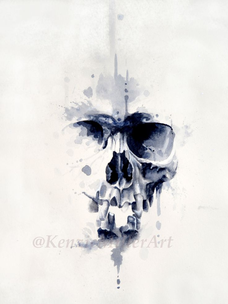 "Watercolor skull painting by @KenzieMillerArt Mixed Media on paper 11""x14"" watercolor ink pen pencil charcoal abstract skull splatter drip society6"