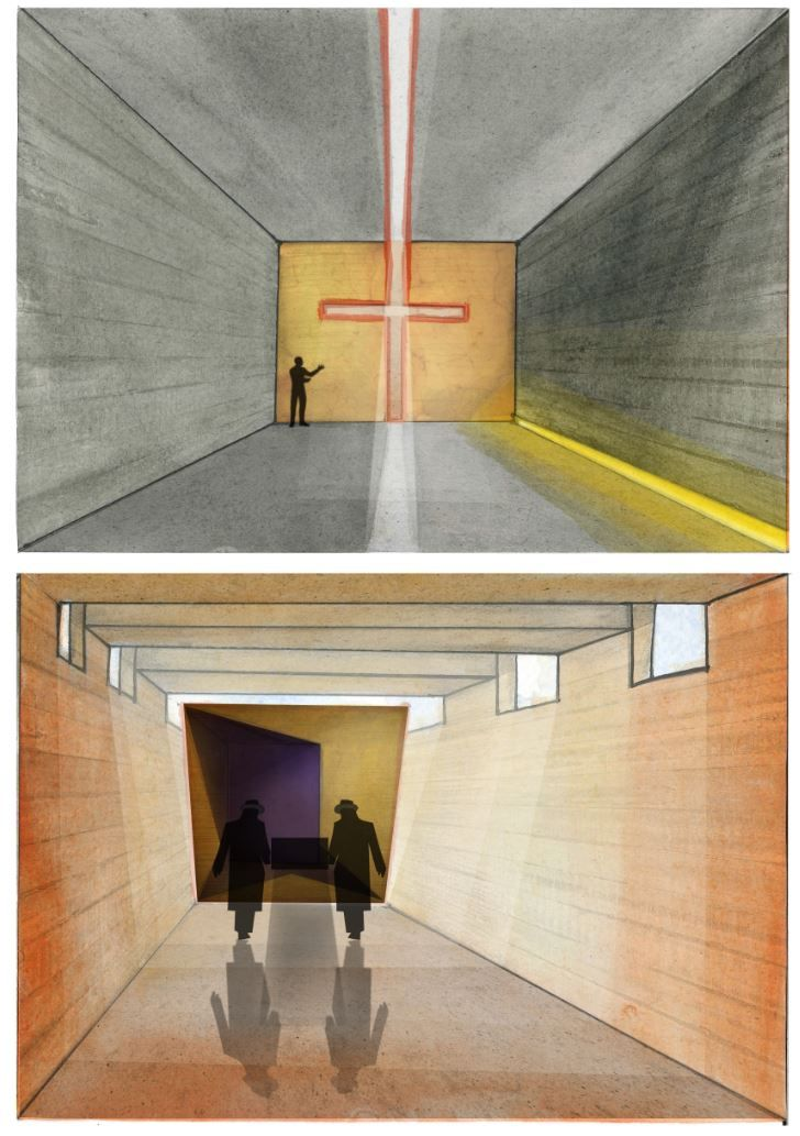 Perspective of oratory and passage to furnace