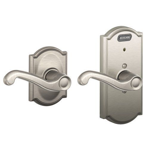 Schlage FE10 FLA 619 CAM Built-in Alarm, Camelot Collection Flair Hall and Closet Lever Door Lock, Satin Nickel Schlage Lock Company