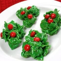 Christmas Cornflake Wreath Cookies Recipe.  I have to make several batches because my husband and kids eat all of them before I can give them away.